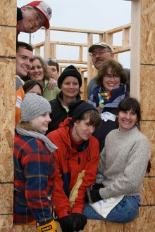 Burkley and friends helping to build a Habitat for Humanity house for Burkley's 50th birthday.